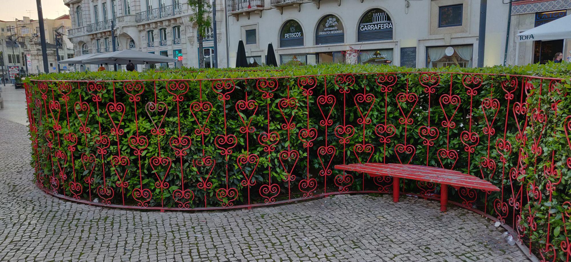 Des buissons dans entre des clôtures en formes de coeurs